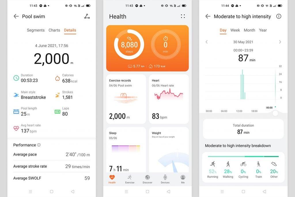 La aplicación Huawei Health que se ejecuta en un teléfono Android